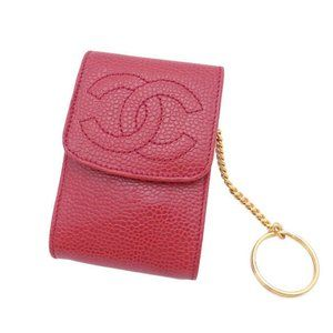 CHANEL CC Logo Small Case Red Caviarskin Leather